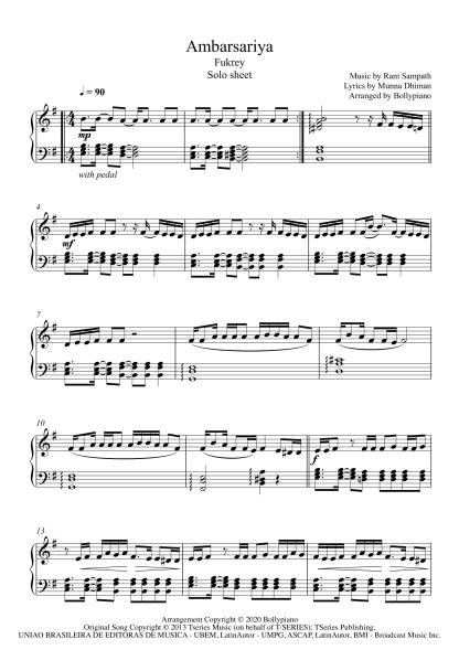 Ambarsariya - Fukrey piano notes