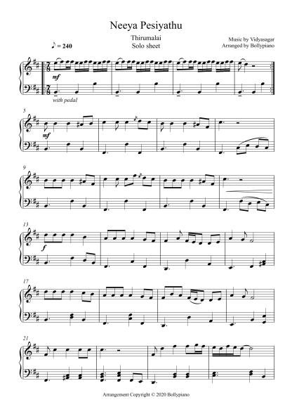 Neeya Pesiyathu - Thirumalai piano notes
