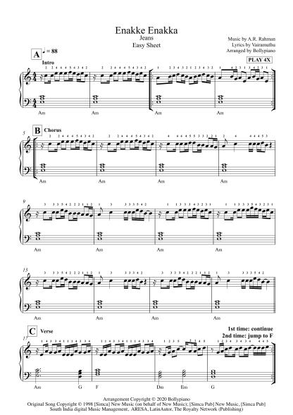 Enakke Enakka - Jeans easy piano notes