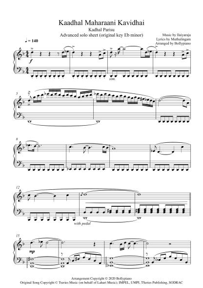 Kaadhal Maharaani Kavidhai - Kadhal Parisu advanced piano notes