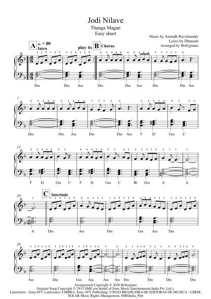 Jodi Nilave - Thangamagan easy piano notes