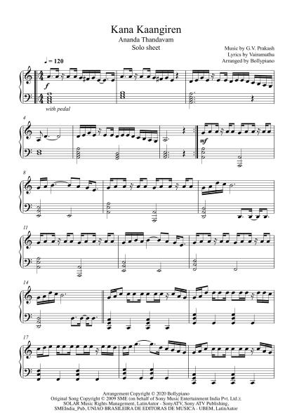 Kana Kaangiren - Ananda Thandavam piano notes