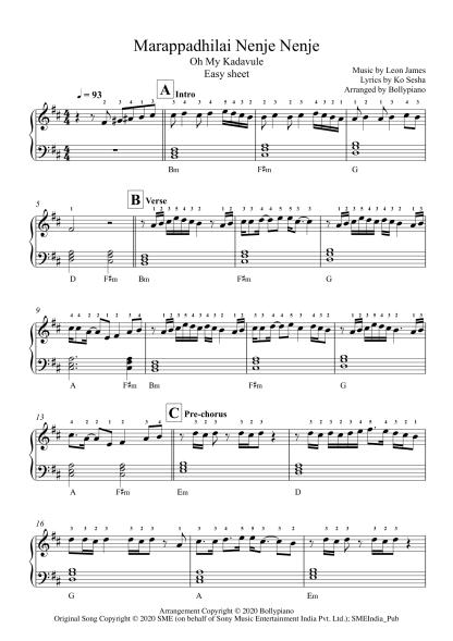 Marappadhilai Nenje Nenje - Oh My Kadavule easy piano notes