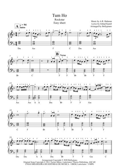 Tum Ho - Rockstar easy piano notes
