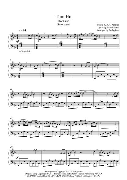 Tum Ho - Rockstar piano notes