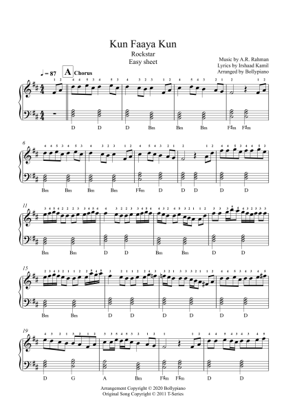 Kun Faaya Kun - Rockstar easy piano notes