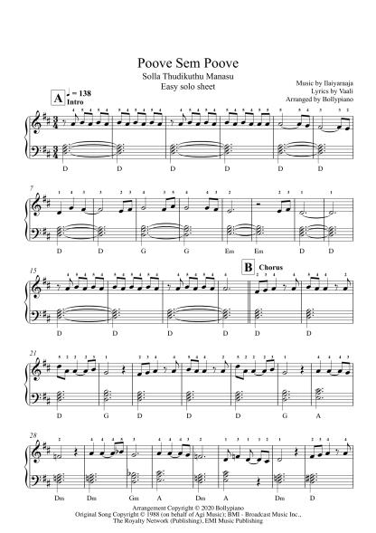 Poove Sem Poove - Solla Thudikuthu Manasu easy piano notes