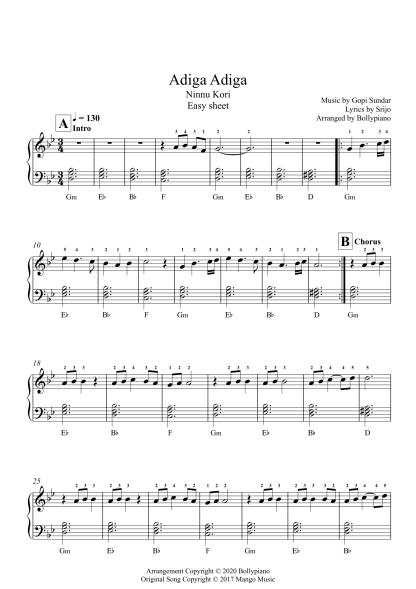 Adiga Adiga - Ninnu Kori easy piano notes