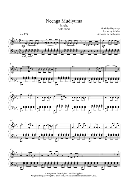 Neenga Mudiyuma - Psycho piano notes