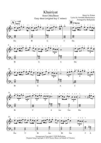 Khairiyat - Chhichhore easy piano notes