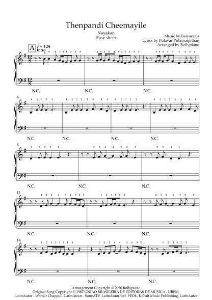 Thenpandi Cheemayile - Nayakan easy piano notes