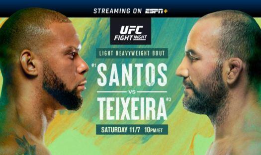 UFC Fight Night 182: Santos vs. Teixeira 11/7/20 - 7th ...