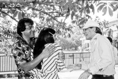 Parveen Babi in Delhi during October 1978 shooting for B R Chopra's film 'Burning Train' with Dharmendra.