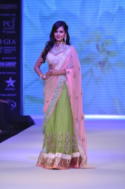 19 Esha Gupta wore Peach Green Lehenga & Emdroidered Dupatta from JASHN at IIJW 2012