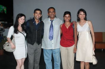 Kristan, Giju John (Producer), Remo Fernandes with Friend & Seema Rahamani at the premiere of 'Love, Wrinkle-Free' at PVR, Phoenix.