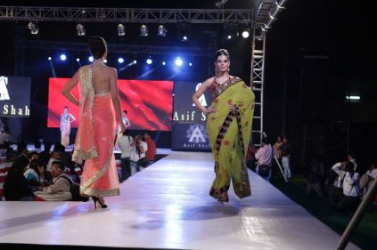 17 - Models with designer Asif Shah's collections in Indore at Sayaji Palace.,.