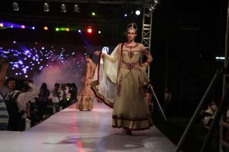 34 - Models with designer Asif Shah's collections in Indore at Sayaji Palace.