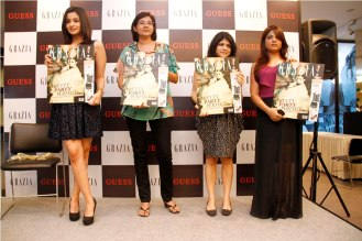 Alia Bhatt, Ms. Anupama Bhalla (Brand Publisher, Grazia) & Mehernaaz Dhondy (Editor, Grazia) Launching the Grazia cover at Guess.,