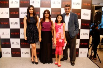 Alia Bhatt with the Guess owners at the Grazia cover launch