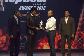 Mr. Tarun Rai (CEO, WorldWide Media), Abhishek Bachchan, Mr. Amit(Winner receiving the Bike of the year award KTM DUKE 200) & Girish Karkera (Editor, TopGear Magazine) at 'The TopGear India Magazine Awards 201
