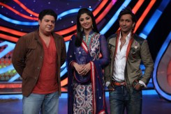 Sajid, Shilpa and Terence during their perfomance in the ex-contestant special of Nach Baliye-5. Catch them from Sat to Sun at 9pm on STAR Plus