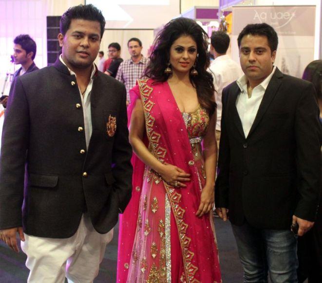 Designer Karan Raj, Showstopper Anjana Sukhani & Mr. Waahiid Ali Khan (Businessman) posing after the finale of 'Fashion Me 2013' in Dubai