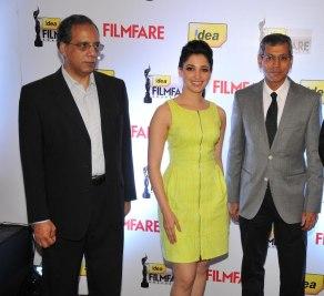 Mr. Rajat Mukarji, Tamanna & Mr. Tarun Rai at the '60th Idea Filmfare Awards 2012' (South) Press conference