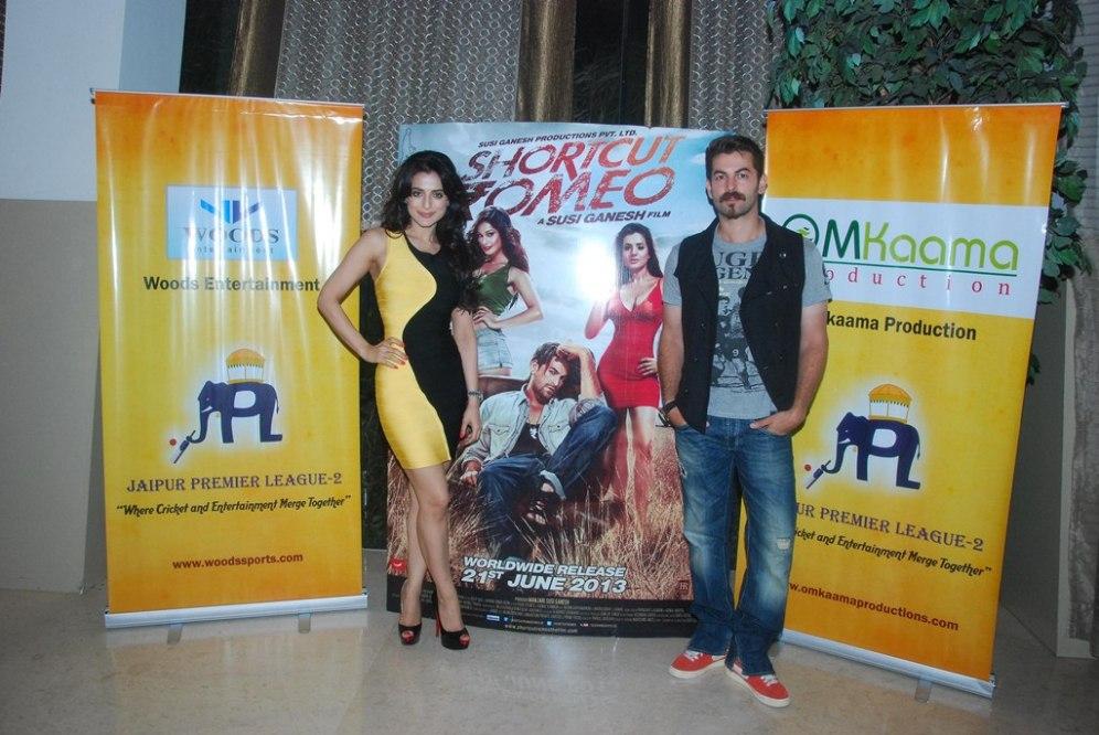 Shortcut Romeo stars Neil Nitin Mukesh & Ameesha Patel at the Launch of 'Jaipur Premier League' Season-2 ..