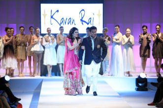 Showstopper Anjana Sukhani & Designer Karan Raj at the finale of 'Fashion Me 2013' in Dubai,