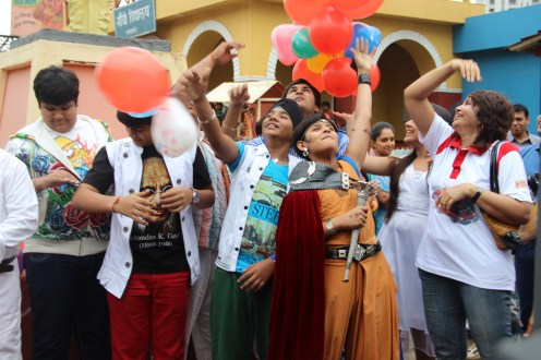Tappu, Goli, Balveer, Gurusharan Sodhi, at the launch of SAB Ki Sawaari