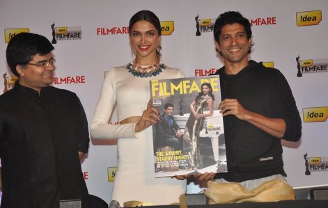 Editor Jitesh Pillaai , Deepika Padukone & Farhan Akhtar launched the 59th Idea Filmfare Awards Special issue at JW Marriott