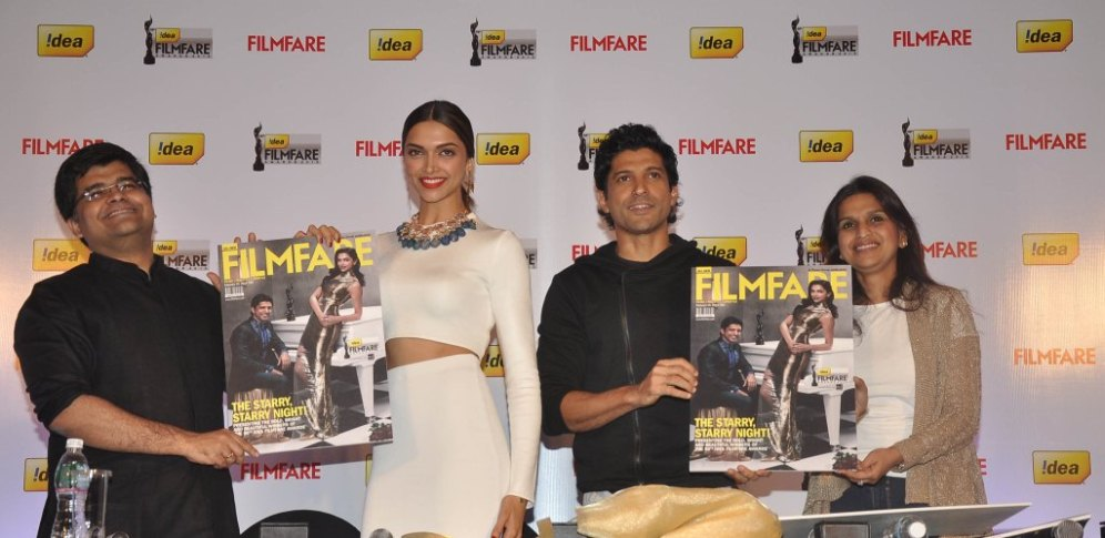 Editor Jitesh Pillaai , Deepika Padukone, Farhan Akhtar & Sunita Bangard (President, Marketing Idea) launched the 59th Idea Filmfare Awards Special issue at JW Marriott.4