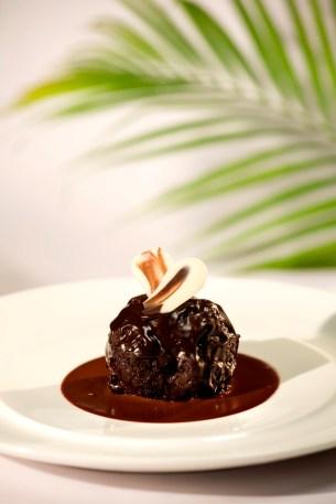 'old monk' rum balls, valrhona chocolate sauce