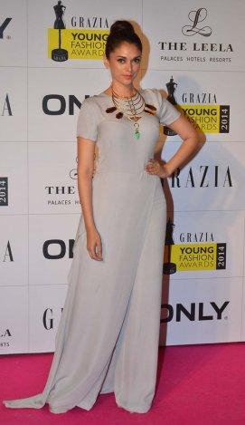 Aditi Rao Hyadri at the Red Carpet of Grazia Young Fashion Awards 2014 at the Leela, Mumbai