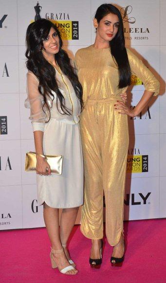 Nishka Lulla & Sonal Chauhan at the Red Carpet of Grazia Young Fashion Awards 2014 at the Leela, Mumbai