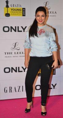 Tisca Chopra at the Red Carpet of Grazia Young Fashion Awards 2014 at the Leela, Mumbai