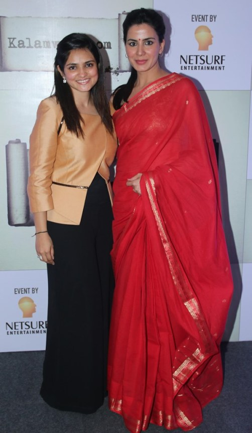 Sonia Gandhi (founder) with Actress Kirti Kulhari at the launch of kalamwali.com 'a world of words'.2