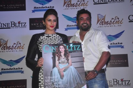 Huma Qureshi & Munna Singh (Cover Photographer) at the CineBlitz magazine cover launch at SheeSha Sky Lounge Gold, Juhu.3