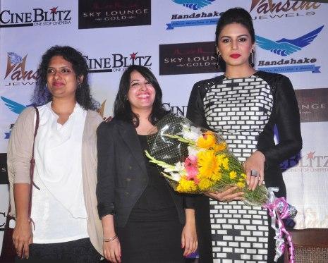Ms. Nichola Pais (Editor, CineBlitz), Prathistha & Huma Qureshi at the CineBlitz magazine cover launch at SheeSha Sky Lounge Gold, Juhu