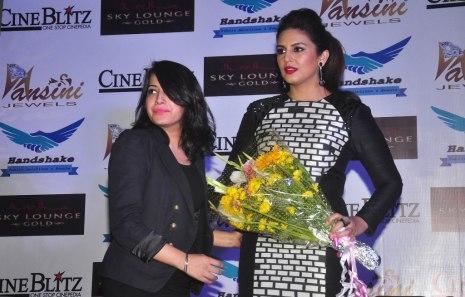 Prathistha & Huma Qureshi at the CineBlitz magazine cover launch at SheeSha Sky Lounge Gold, Juhu