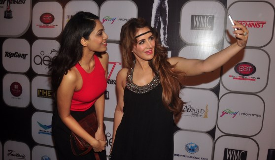 Pria Kataria Puri & Sobhita Dhulipala in a selfie mode at at the 7th TopGear Awards.