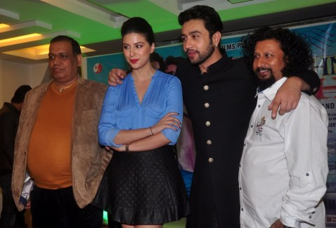 Producer Vijay K Mishra, Karishma Kotak, Adhyayan Suman & Director Aanand Raut at the First Look & Music Launch of film Luckhnowi Ishq.