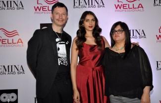 Stan Darren Newton , Aditi Rao Hydari & Tanya Chaitanya (Editor, Femina) launching at the Femina Salon & Spa magazine cover at the White Owl Lounge.1