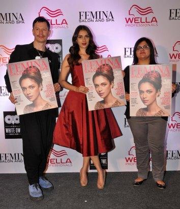 Stan Darren Newton , Aditi Rao Hydari & Tanya Chaitanya (Editor, Femina) launching at the Femina Salon & Spa magazine cover at the White Owl Lounge