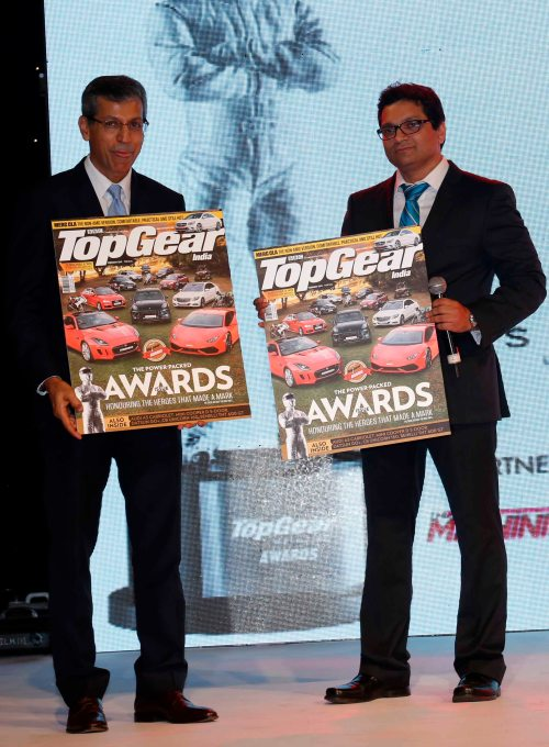 Tarun Rai (CEO, WWM) & Girish Karkera (Editor, TopGear Magazine, India) launch the awards special issue at the 7th TopGear Awards