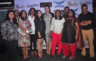 The Core Team of CineBlitz with Huma Qureshi post cover launch at SheeSha Sky Lounge Gold, Juhu