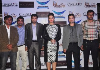 The Hansini Jewels team with Huma Qureshi at the CineBlitz magazine cover launch at SheeSha Sky Lounge Gold, Juhu