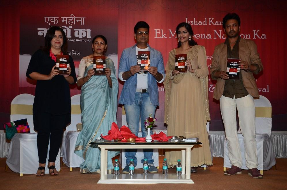 L-R-Farah Khan, Deepti Naval, Irshad Kamil, Sonam Kapoor, Irrfan Khan at the Mumbai launch of Irshad Kamil's book of poems - Ek Maheena Nazmon Ka
