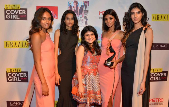 Mehernaaz Dhondy with Grazia Cover Girl Hunt Winners at the Grazia Cover Girl Hunt Finale