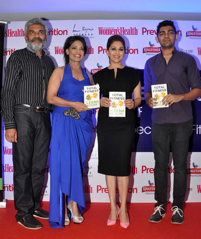 Nikhil, Leena Mogre, Madhuri Dixit & Leena's son at Leena Mogre's Debut Book Launch 'Total Fitness' at her gym in Bandra.